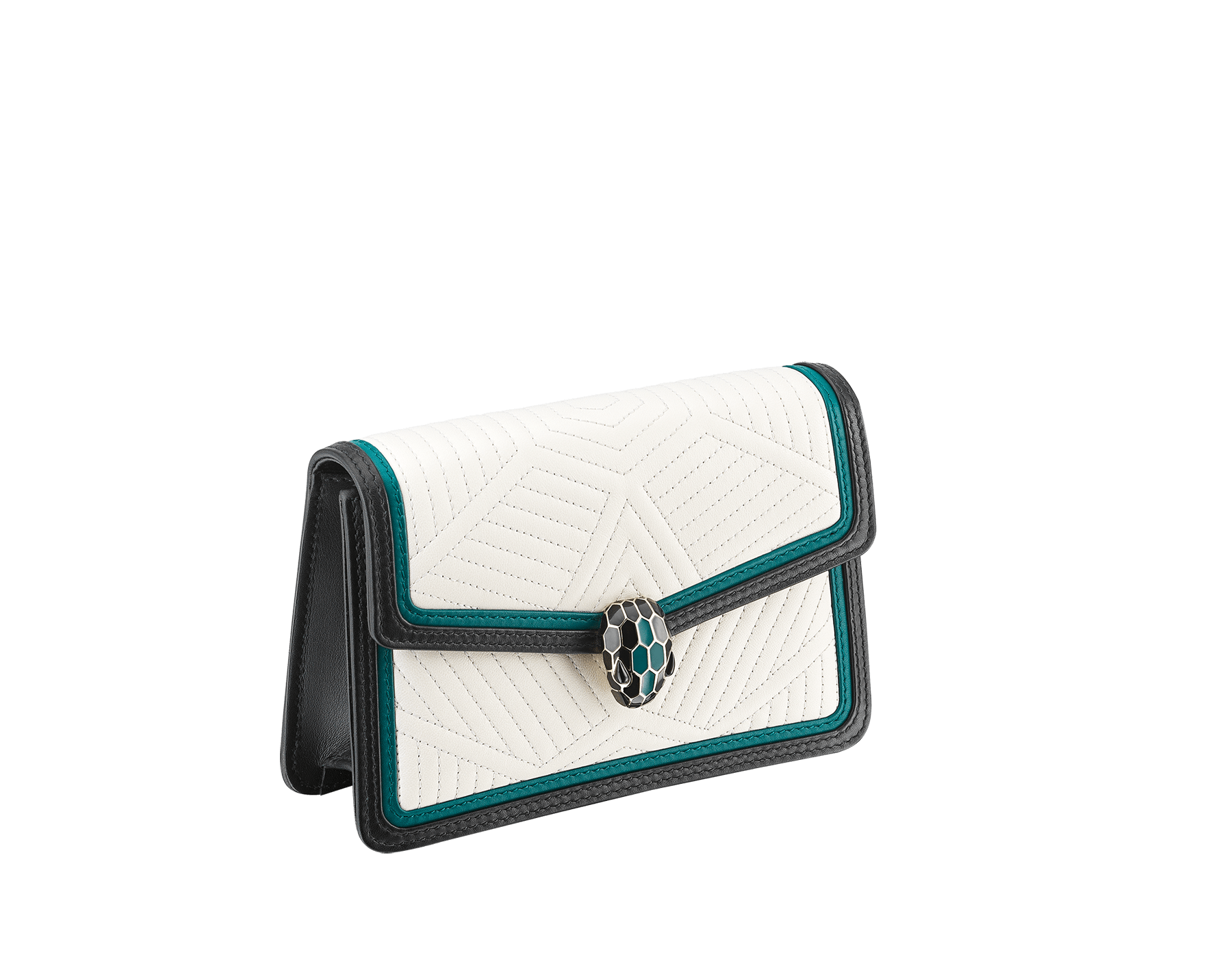 """Serpenti Diamond Blast"" crossbody micro bag with white agate quilted nappa leather body and deep jade and black calf leather frames. Iconic snakehead closure in light gold-plated brass enriched with deep jade and black enamel and black onyx eyes. 288106 image 2"