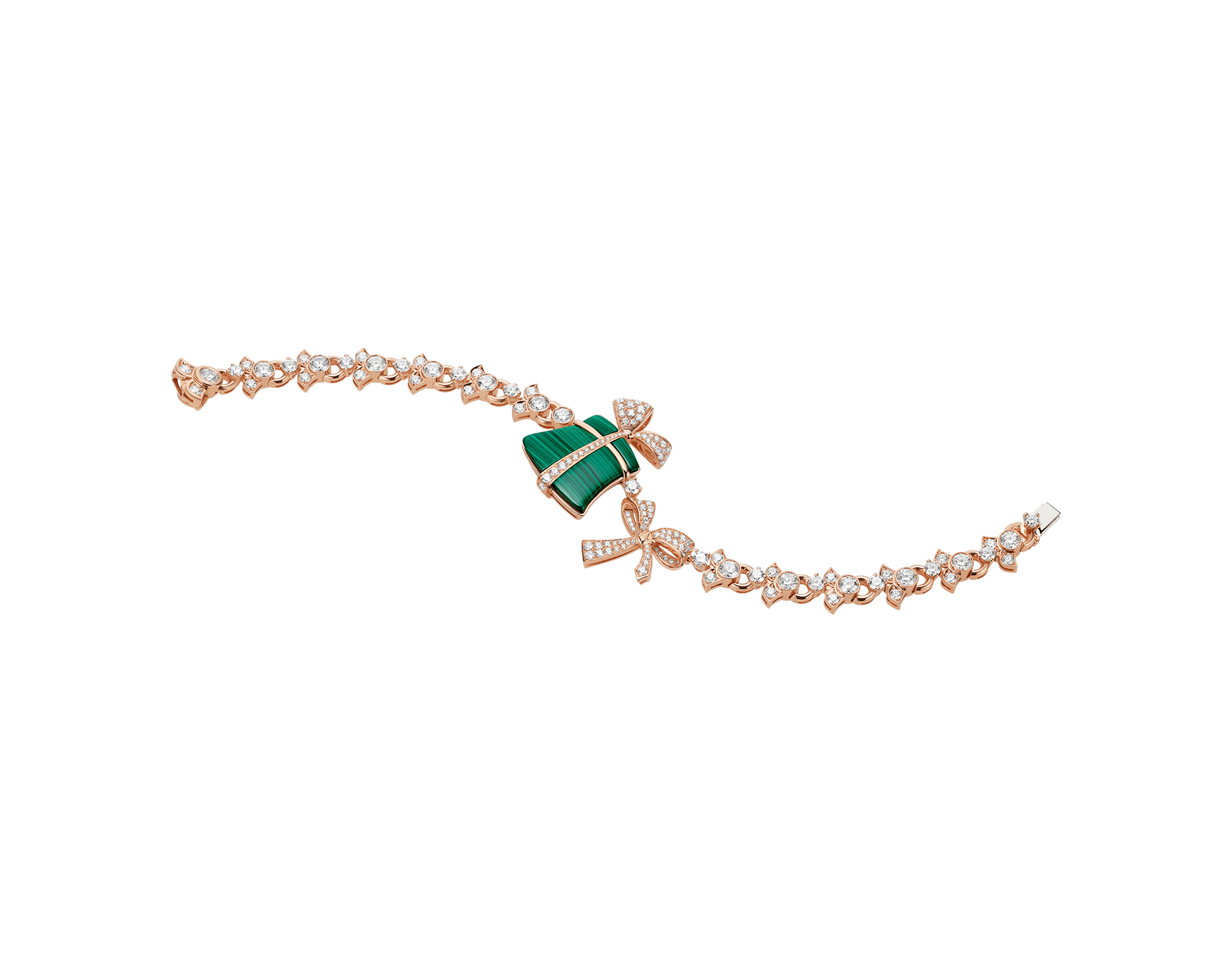 Festa 18 kt rose gold bracelet set with malachite elements and pavé diamonds BR858457 image 1