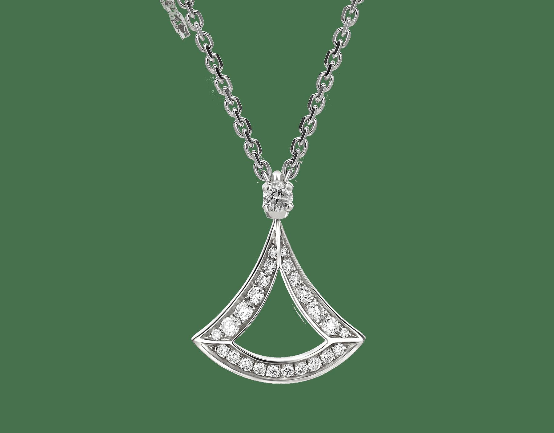 Collar calado DIVAS' DREAM en oro blanco de 18qt con colgante en oro blanco de 18qt con pavé de diamantes. 354046 image 2