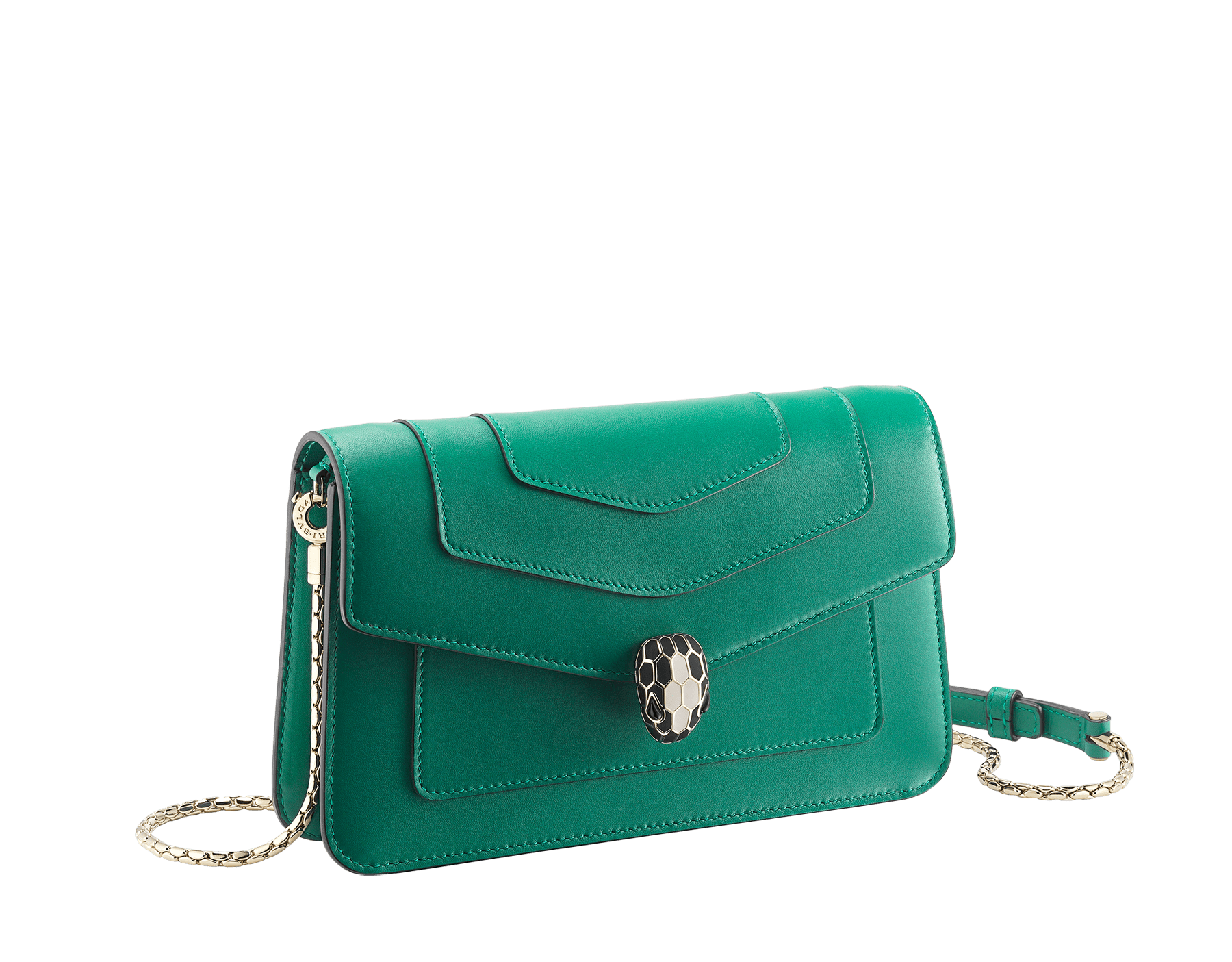 "New ""Serpenti Forever"" chain wallet in soft emerald-green calfskin and black nappa leather. Iconic snakehead closure in light gold-plated brass with black and agate-white enamel and green malachite eyes. SEA-CHAINPOCHETTE-CL image 1"
