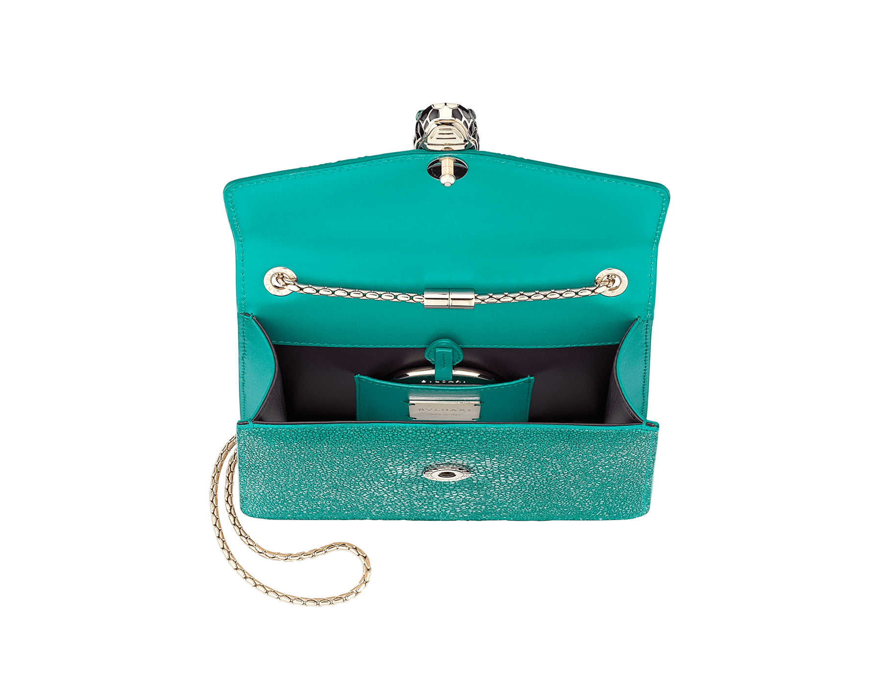 Serpenti Forever crossbody bag in tropical turquoise galuchat skin. Snakehead closure in light gold plated brass decorated with black and white enamel, and green malachite eyes. 288067 image 4