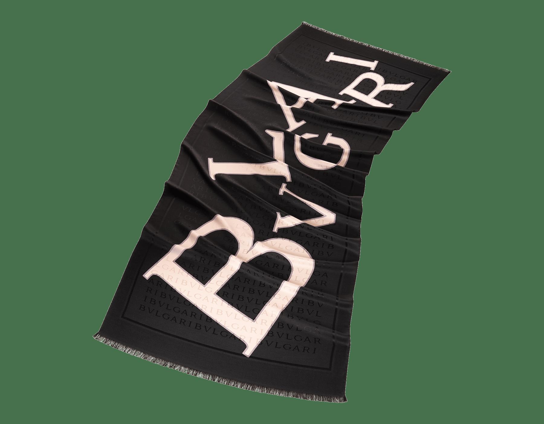 "White ""Lettere Bvlgari"" stole in fine silk wool. LETTEREBULGARI image 1"