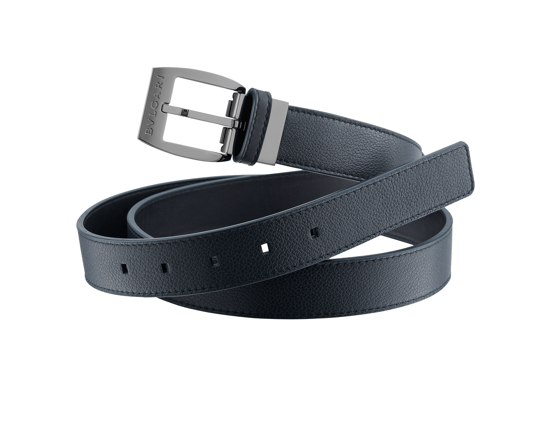 Man belt in denim sapphire full grain calf leather with Ellipse closure in brass palladium plating. Also available in other colours and materials. 110 x 3 cm. - 43.3 x 1.2 ELLIPSE-GCL image 1