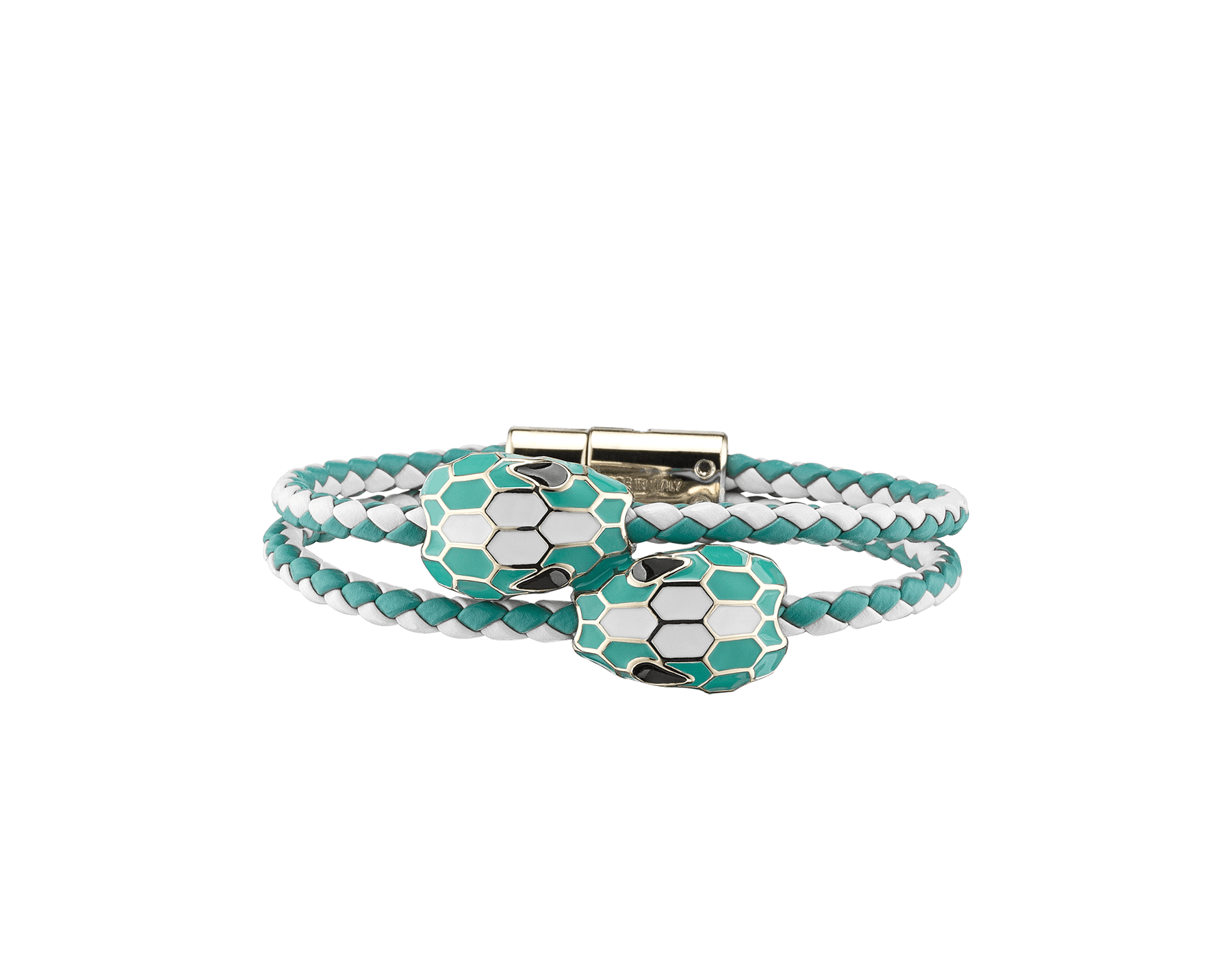 Serpenti Forever double braid bracelet in white agate and arctic jade woven calf leather with a double snakehead décor in white agate and arctic jade enamel. NewDoubleBraid-WCL-WAAJ image 1