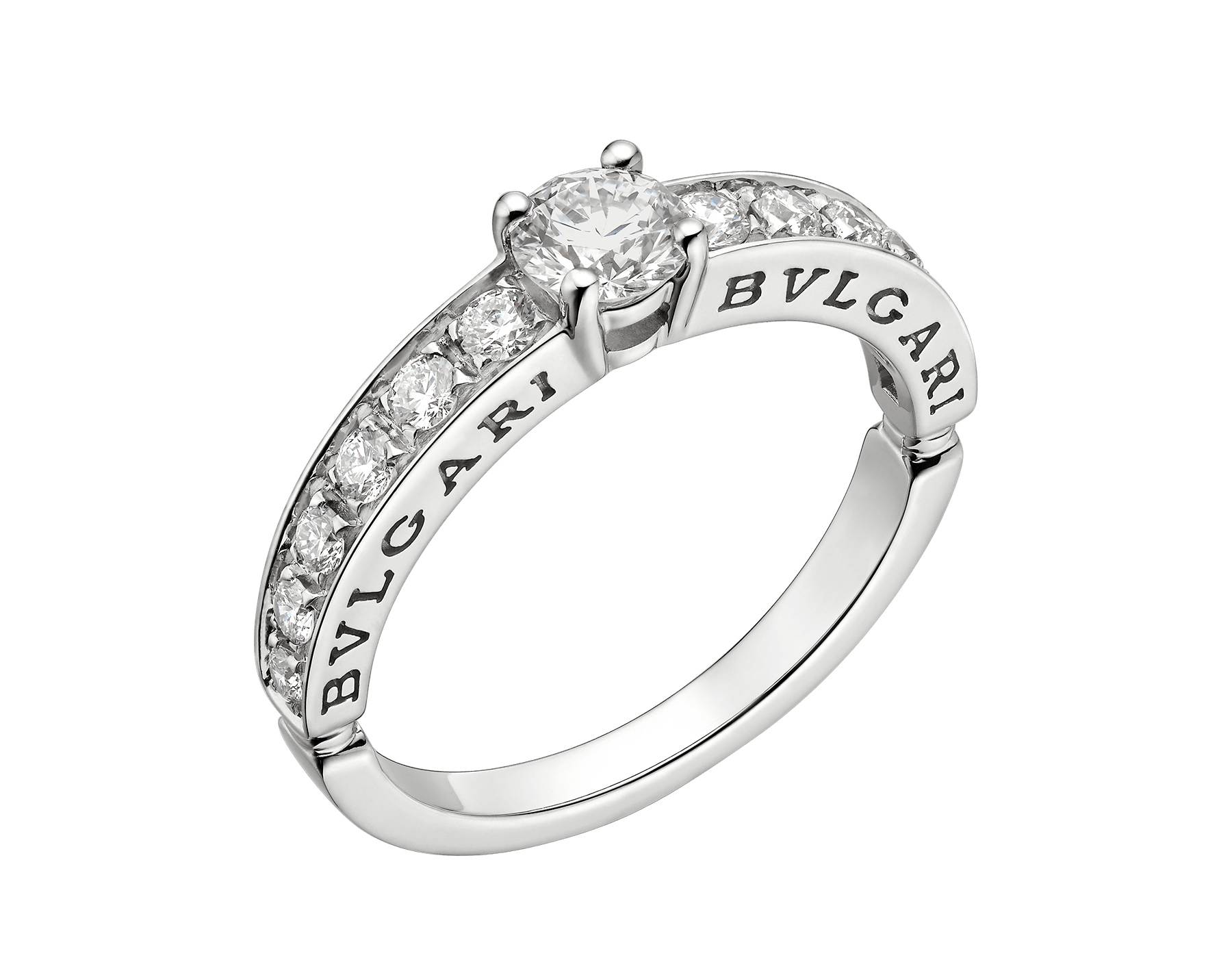 Dedicata a Venezia: 1503 solitaire ring in platinum with a round brilliant-cut diamond, pavé diamonds and engraved logo. Named after the year in which the first engagement ring was offered in Venice. 343525 image 1