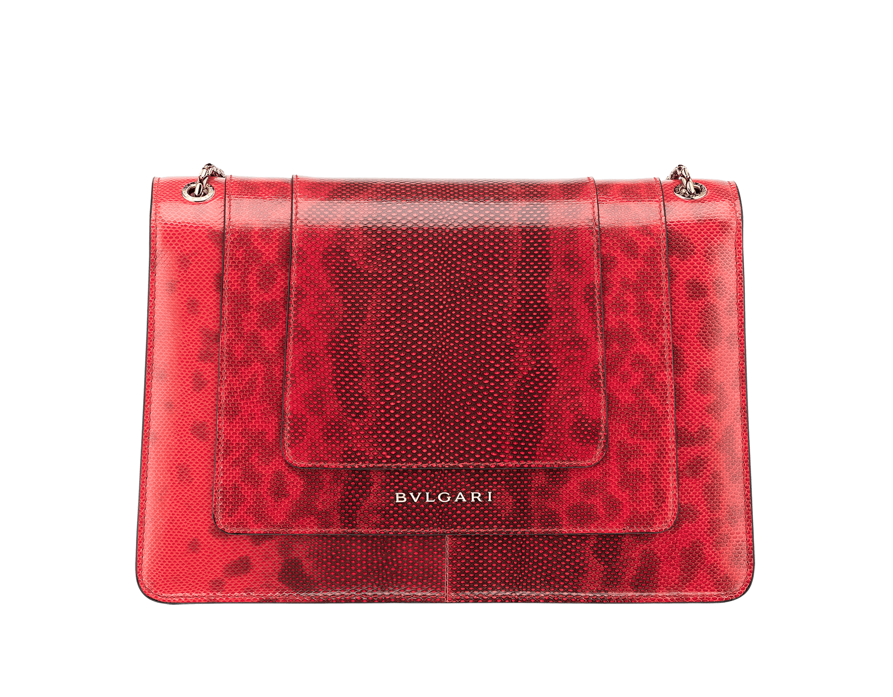 Serpenti Forever shoulder bag in sea star coral shiny karung skin. Snakehead closure in light gold plated brass decorated with black and white enamel, and green malachite eyes. 287918 image 3