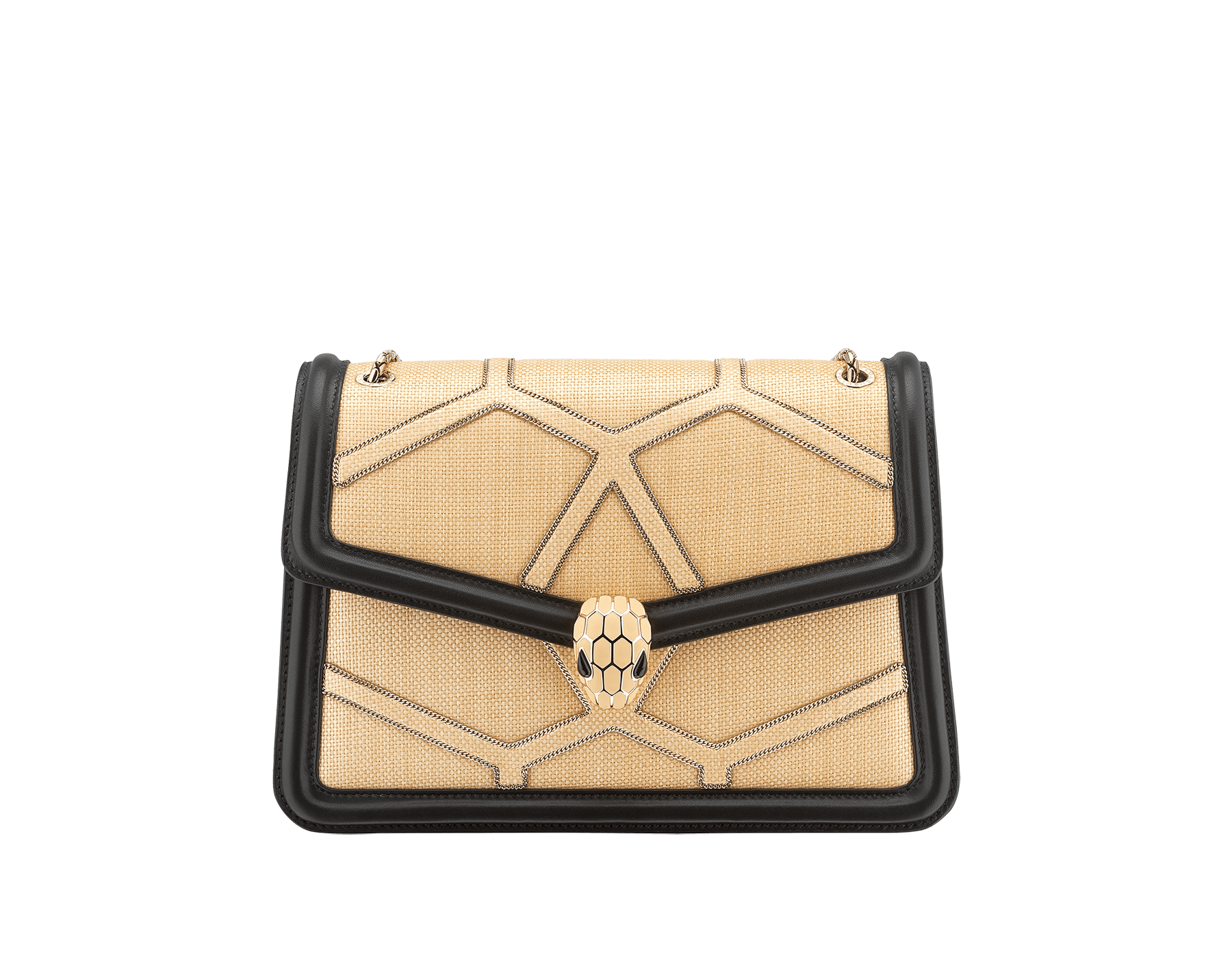 """""""Serpenti Forever """" shoulder bag in beige raffia and black nappa leather internal lining. Alluring light gold-plated brass snakehead closure enhanced with full matte Natural beige enamel and black onyx eyes. 290904 image 1"""