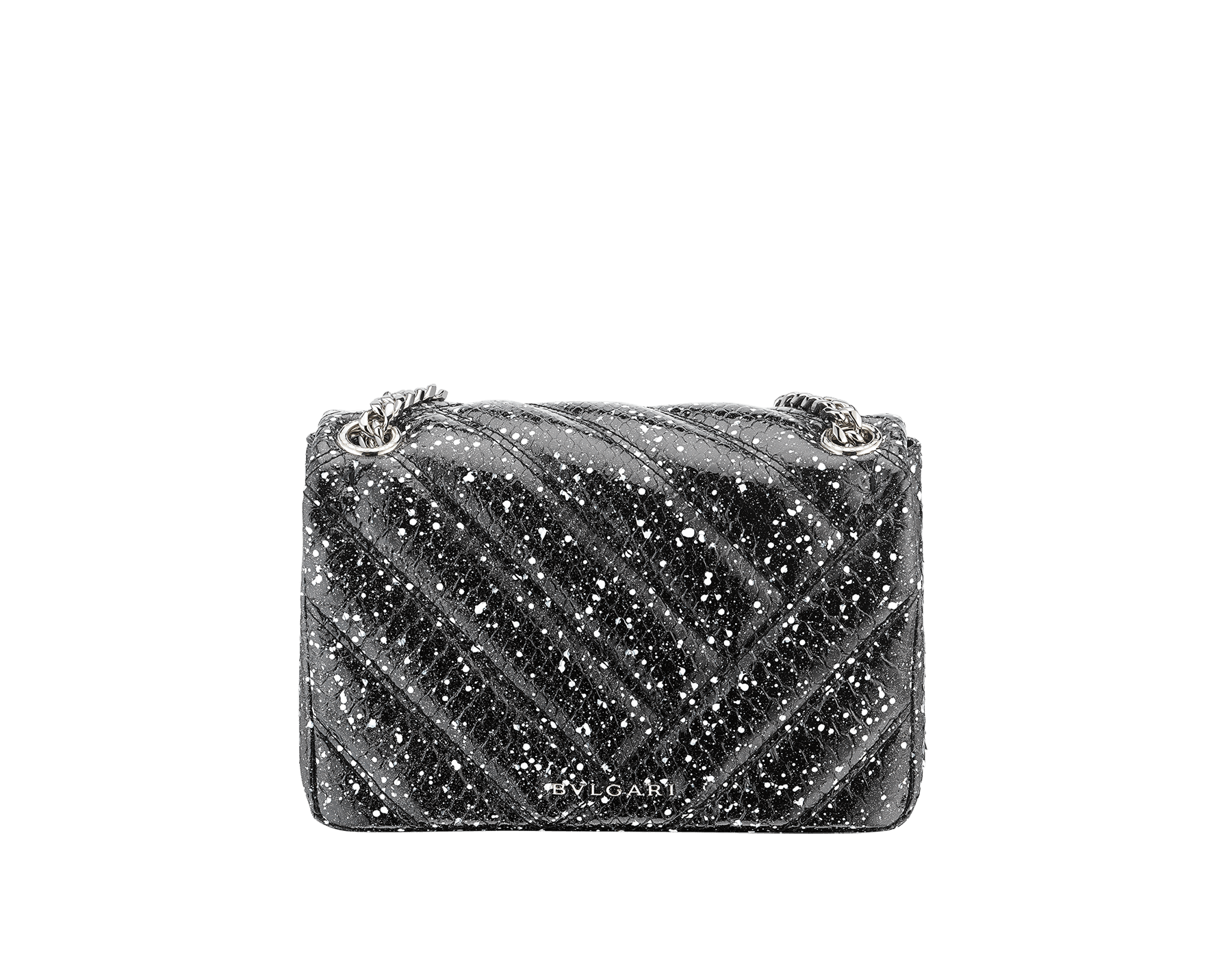 Serpenti Cabochon shoulder bag in soft matelassé black and white cosmic python skin with graphic motif. Snakehead closure in palladium plated brass decorated with matte black and white enamel, and black onyx eyes. 288621 image 3