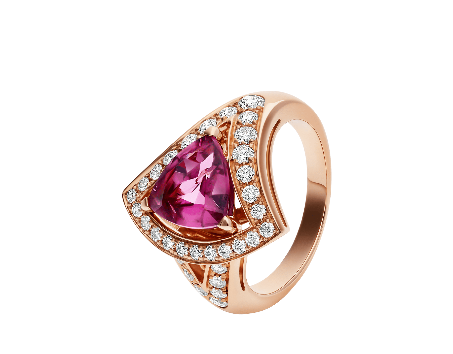 DIVAS' DREAM openwork ring in 18 kt rose gold with a pink tourmaline and set with pavé diamonds. AN858124 image 1
