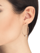 B.zero1 18 kt rose gold large hoop earrings set with white ceramic on the spiral 357221 image 3