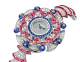 DIVAS' DREAM watch with 18 kt white gold case set with baguette and brilliant-cut diamonds, round and buff-cut rubellites, buff-cut sapphires and sapphire beads, snow pavé dial, 18 kt white gold bracelet set with brilliant-cut diamonds and buff-cut rubellites 102153 image 2