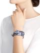Montre Serpenti avec boîtier en acier inoxydable serti de diamants, cadran laqué bleu et bracelet quadruple spirale interchangeable en cuir de veau aspect métal brossé couleur indigo topaze. 102967 image 3