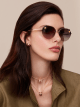 Serpenti 'Poisoncandy' soft cat-eye metal frame sunglasses with angular lenses. 903408 image 3