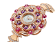 DIVAS' DREAM watch with 18 kt rose gold case set with brilliant-cut diamonds, round shaped rubellites and amethysts beads, white mother-of-pearl dial and 18 kt rose gold bracelet set with brilliant-cut diamonds 102080 image 2