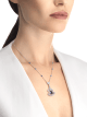 DIVAS' DREAM 18 kt white gold openwork necklace set with a pear-shaped sapphire, round brilliant-cut sapphires, a round brilliant-cut diamond and pavé diamonds. 357325 image 5