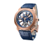 Octo Roma Tourbillon Sapphire watch with mechanical manufacture movement, manual winding and flying tourbillon, 44 mm 18 kt rose gold case, sapphire middle case, blue caliber decorated with 18 kt rose gold indexes on the bridges, blue alligator bracelet and 18 kt rose gold folding clasp 103157 image 1