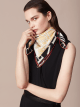 """Teal Topaz green """"Tangram Logo"""" scarf in fine printed silk twill. TANGRAMLOGO image 2"""
