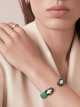 Green galuchat skin bracelet with contraire brass light gold plated iconic black and white enamel Serpenti head motif with malachite enamel eyes. Small. Also available in other colors in store. 2 (5.3 cm) SPContr-G-EG image 3