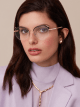 "Le Gemme Serpenti ""Spell"" gold plated rounded cat-eye glasses with mother-of-pearl inserts. 904050 image 3"