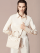 """""""Bvlgari Logo"""" small tote bag in Ivory Opal white canvas, with Beet Amethyst purple grosgrain inner lining. Bvlgari logo featured with light gold-plated brass chain inserts on the Ivory Opal white calf leather. BVL-1159-CC image 6"""