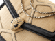 """""""Serpenti Forever """" shoulder bag in beige raffia and black nappa leather internal lining. Alluring light gold-plated brass snakehead closure enhanced with full matte Natural beige enamel and black onyx eyes. 290904 image 6"""