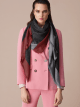 "Black ""Logoquadro"" scarf in fine silk wool. LOGOQUADRO image 2"