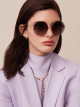 "Le Gemme Serpenti ""Spell"" gold plated irregular rounded sunglasses with mother-of-pearl inserts. 904046 image 3"
