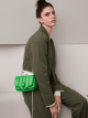 """Ambush x Bvlgari"" belt bag in bright green nappa leather. New Serpenti head closure in palladium plated brass dressed with bright green nappa leather, finished with seductive black onyx eyes. Limited edition. YA-1059 image 6"