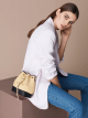 """Serpenti Forever"" small bucket bag in beige raffia and black calfskin, with black nappa leather internal lining. Alluring light gold-plated brass snakehead closure enhanced with full matte Natural beige enamel and black onyx eyes. 290960 image 3"