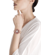 DIVAS' DREAM watch with 18 kt rose gold case set with brilliant-cut diamonds, round shaped rubellites and amethysts beads, white mother-of-pearl dial and 18 kt rose gold bracelet set with brilliant-cut diamonds 102080 image 3