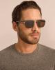 Bulgari Diagono rectangular metal sunglasses with metal double bridge and carbon fibre arms. 903916 image 3