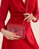 """""""Serpenti Forever"""" crossbody bag in carmine jasper calf leather body and ruby red calf leather sides. Iconic snakehead closure in light gold plated brass enriched with ruby red and carmine jasper enamel and black onyx eyes. 289196 image 5"""