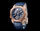 Relógio Octo Roma Tourbillon Sapphire com movimento de manufatura mecânico, corda manual e turbilhão voador, caixa de 44mm em ouro rosa 18K, meio da caixa em safira, calibre azul decorado com índices em ouro rosa 18K nas pontes, pulseira em couro de jacaré azul e fivela de báscula em ouro rosa 18K 103157 image 1