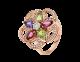 Anel DIVAS' DREAM em ouro rosa 18K cravejado com pedras preciosas coloridas, um diamante lapidação brilhante e pavê de diamantes AN858421 image 1