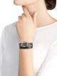 Montre Serpenti avec boîtier en acier inoxydable, cadran laqué noir et bracelet double spirale interchangeable en cuir de karung noir. 102782 image 4