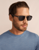 Bulgari Diagono rectangular metal sunglasses with metal double bridge and carbon fibre arms. 903911 image 3