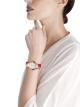Montre DIVAS' DREAM en or rose 18K, cadran en acétate blanc avec index sertis de diamants et bracelet en alligator rouge. 102840 image 4