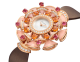 DIVAS' DREAM watch with 18 kt rose gold case set with brilliant-cut diamonds, mandarin garnets, tourmalines and pink opal elements, white mother-of-pearl dial and taupe satin bracelet 102420 image 2
