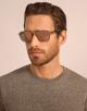 Bulgari Diagono rectangular metal sunglasses with metal double bridge and carbon fibre arms. 903917 image 3