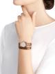 Relógio Serpenti com caixa em ouro rosa 18K, mostrador em madrepérola branca e pulseira de duas voltas intercambiável em couro karung marrom 102919 image 3