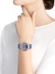 Montre LVCEA Tourbillon en édition limitée avec mouvement mécanique de manufacture, remontage automatique, tourbillon transparent, boîtier en or blanc 18K serti de diamants ronds taille brillant, cadran pavé diamants avec diamants ronds taille brillant et finition bleue, bracelet en galuchat bleu 102881 image 3